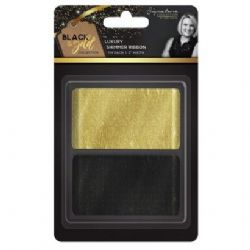 "Sara Signature : Black & Gold - Shimmer Ribbon 2"" (2pk)"